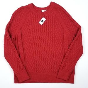 NWT Gap Red Crew Neck Braided Sweater XL